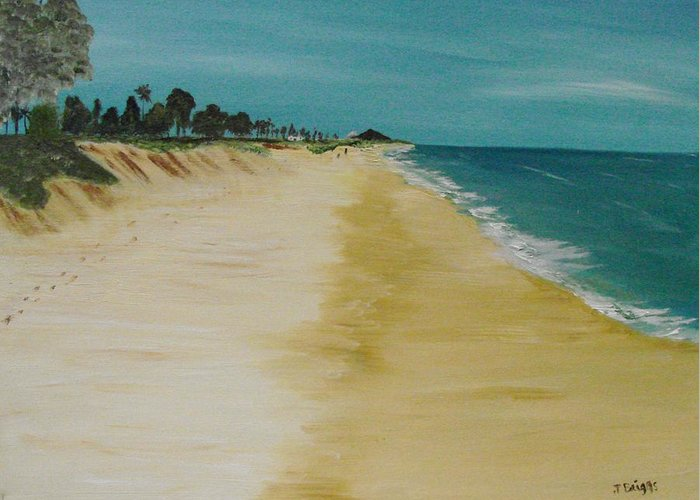 Beach Greeting Card featuring the painting Looking Up The Beach by Dottie Briggs