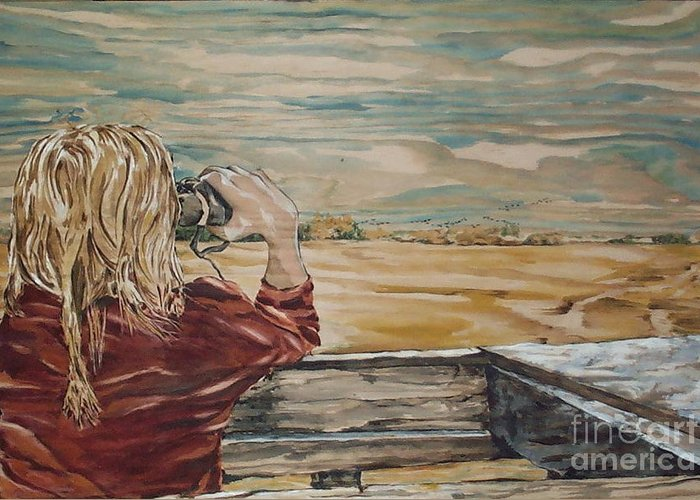 Canadian Prairie Landscape Greeting Card featuring the painting Lookout by Christine Marek-Matejka