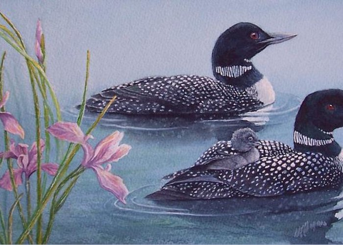 Wildlife Greeting Card featuring the painting Loon Family by Cherry Woodbury