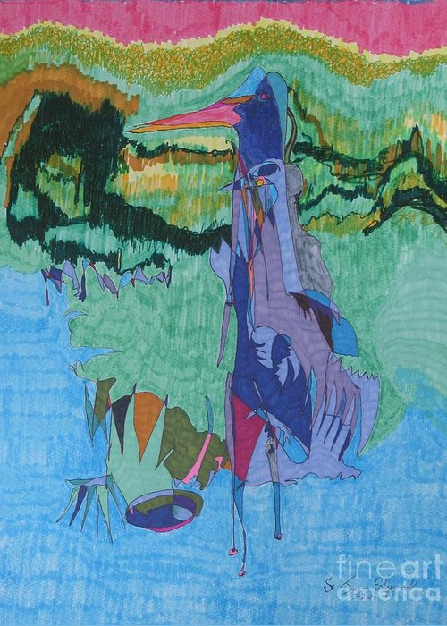 Abstract Loon Greeting Card featuring the mixed media Loon In Bay by James SheppardIII