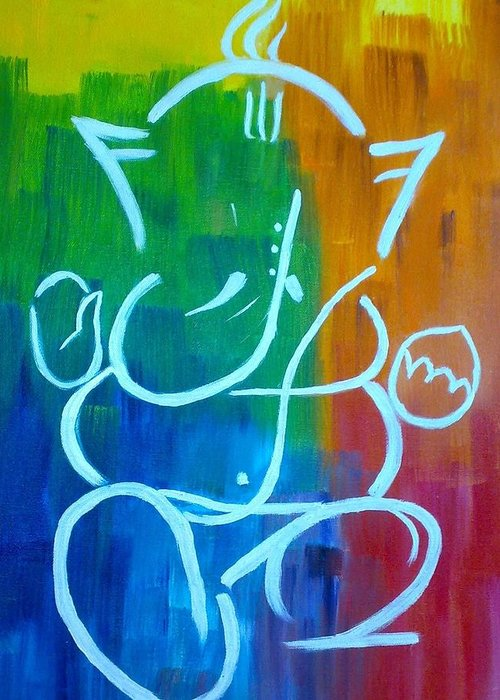 Ganesh Greeting Card featuring the painting Lord Ganesh by Puja Chakravarty