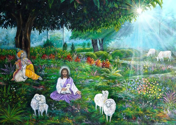 Jesus Greeting Card featuring the painting Lord Jesus And Lord Krishna by Sundara Fawn