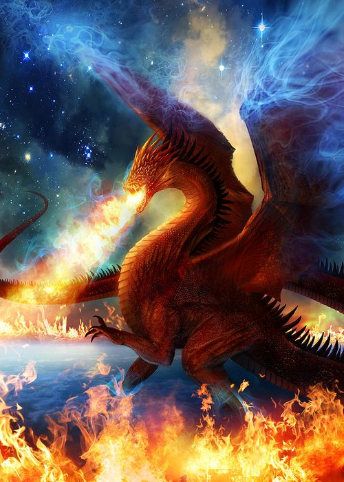 Dragon Greeting Card featuring the painting Lord Of The Celestial Dragons by Philip Straub