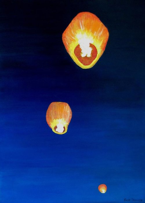 Chinese Lanterns Greeting Card featuring the painting Lorraine's Lanterns by Jack Skinner