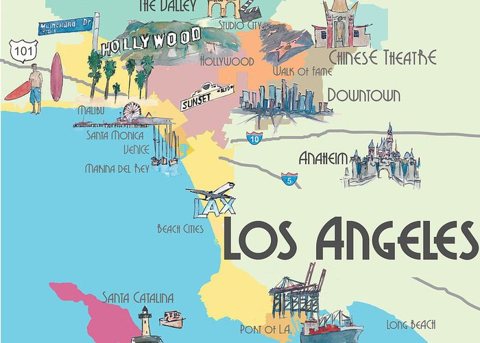 Los Angeles California   Map Of Greater L.a. With Highlights