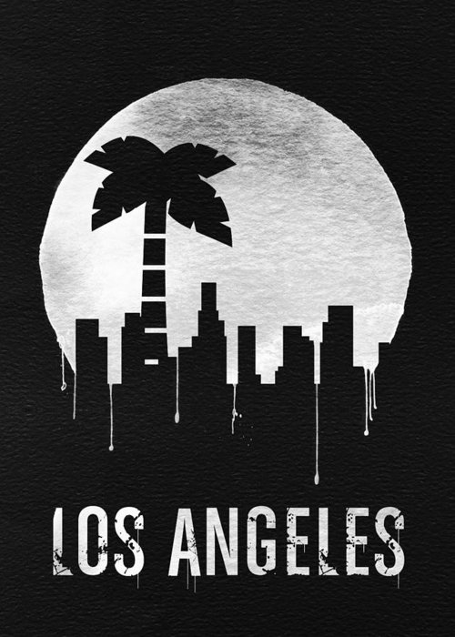 Los Angeles Greeting Card featuring the digital art Los Angeles Landmark Black by Naxart Studio