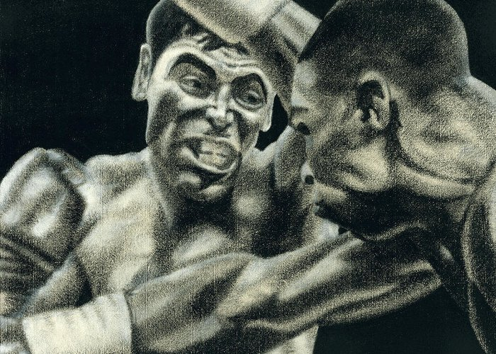 Boxing Greeting Card featuring the drawing Los Guerreros by Roberto Valdes Sanchez
