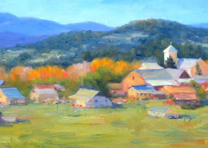 Village Greeting Card featuring the painting Los Ojos Autumn by Bunny Oliver