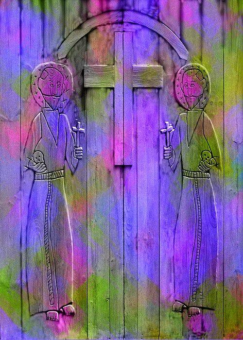 Saint Greeting Card featuring the photograph Los Santos Cuates - The Twin Saints by Kurt Van Wagner