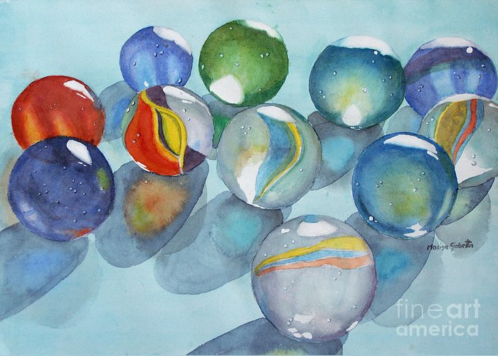 Still Life Greeting Card featuring the painting Lose Your Marbles 2 by Marisa Gabetta