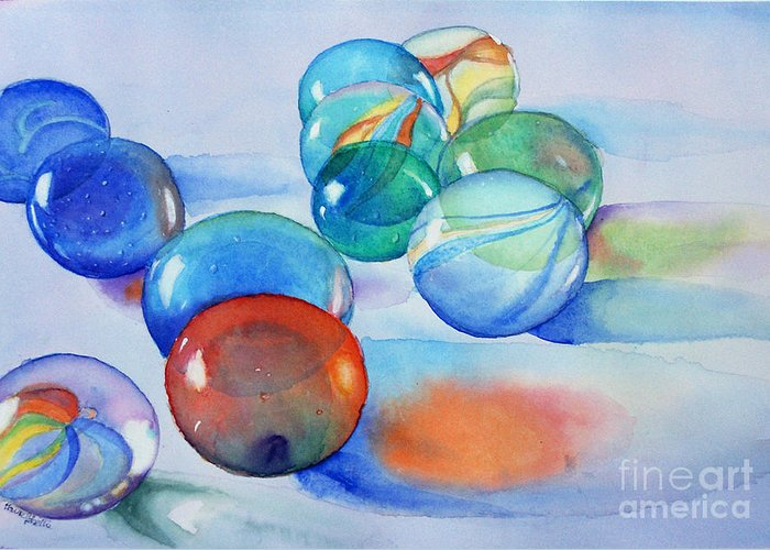 Still Life Greeting Card featuring the painting Lose Your Marbles by Marisa Gabetta