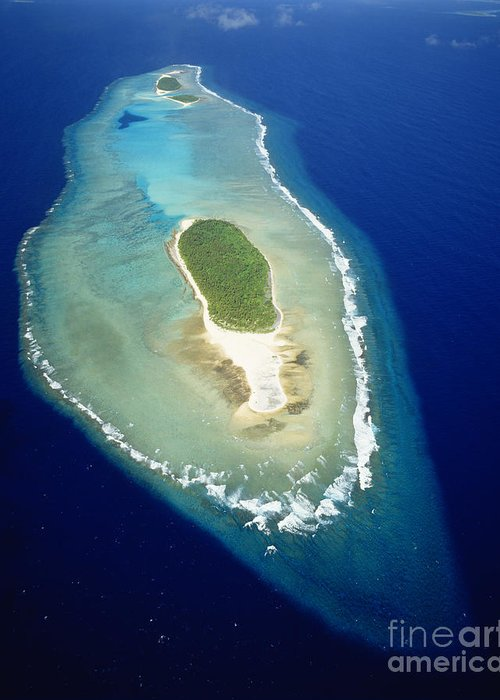 Aerial Greeting Card featuring the photograph Losiep Atoll by Mitch Warner - Printscapes