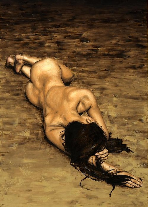 Nude Greeting Card featuring the painting Loss by Richard Young