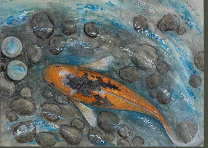 Koi Greeting Card featuring the painting Lost And Found by Sandy Clift