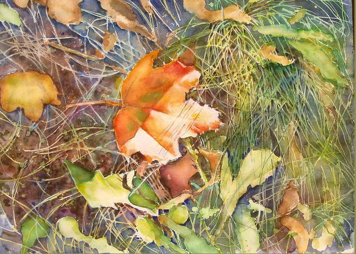Landscape .leaf Greeting Card featuring the painting Lost And Last Beauty by June Conte Pryor