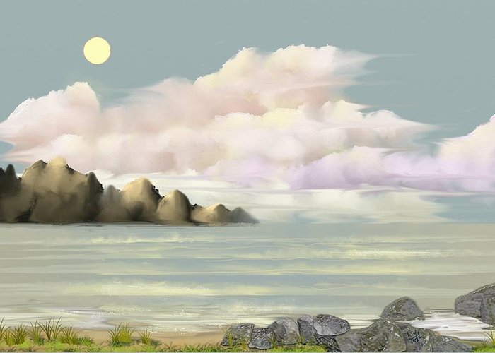 Seascape Greeting Card featuring the digital art Lost Beach by Tony Rodriguez