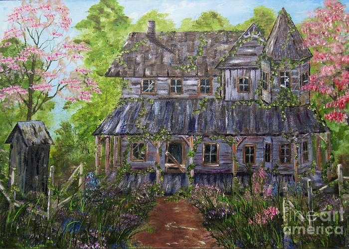 Haeger Art Oil Painting House Trees Flowers Out House Fence Abandon House Broken Windows For Sale Greeting Card featuring the painting Lost House by Tina Haeger