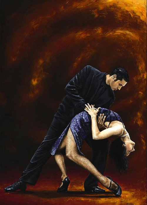 Tango Greeting Card featuring the painting Lost In Tango by Richard Young