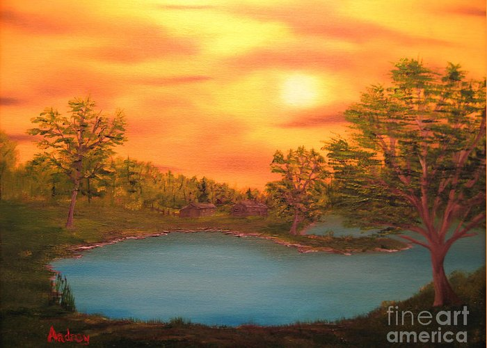 Landscape Greeting Card featuring the painting Lost Lake by Todd Androy