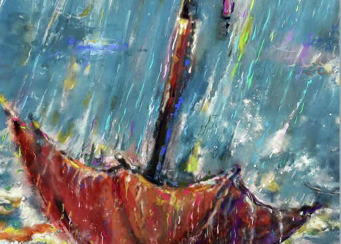 Lost Greeting Card featuring the mixed media Lost Umbrella, Rain by Mark Tonelli