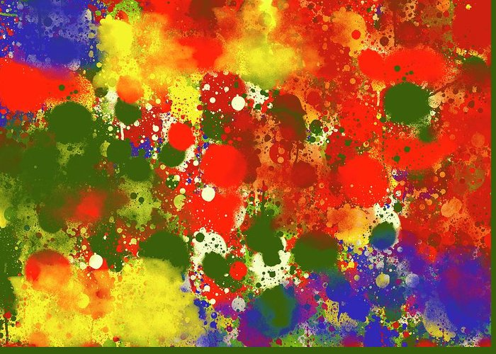 Abstract Greeting Card featuring the digital art Lots 1 by OLU Victor Odukoya