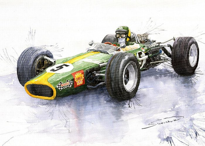 Watercolour Greeting Card featuring the painting Lotus 49 Ford F1 Jim Clark by Yuriy Shevchuk