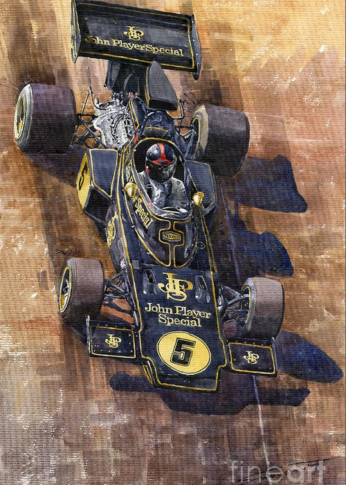 Watercolour Greeting Card featuring the painting Lotus 72 Canadian Gp 1972 Emerson Fittipaldi by Yuriy Shevchuk