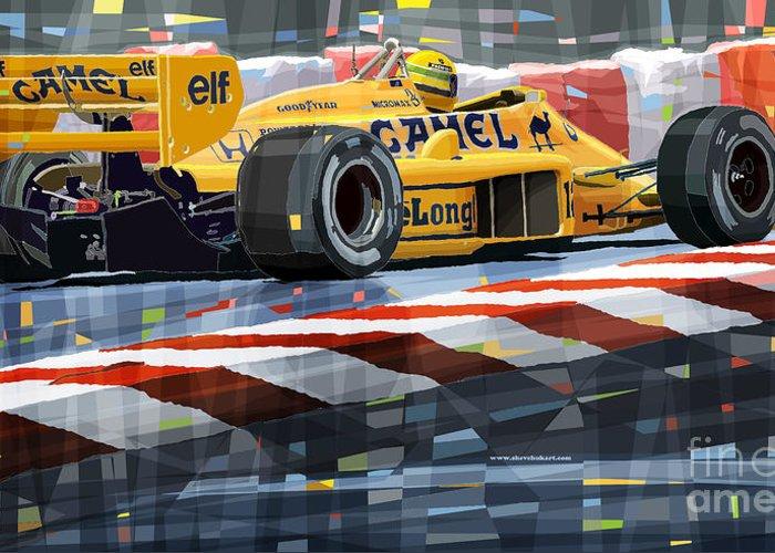 Automotive Greeting Card featuring the digital art Lotus 99t 1987 Ayrton Senna by Yuriy Shevchuk
