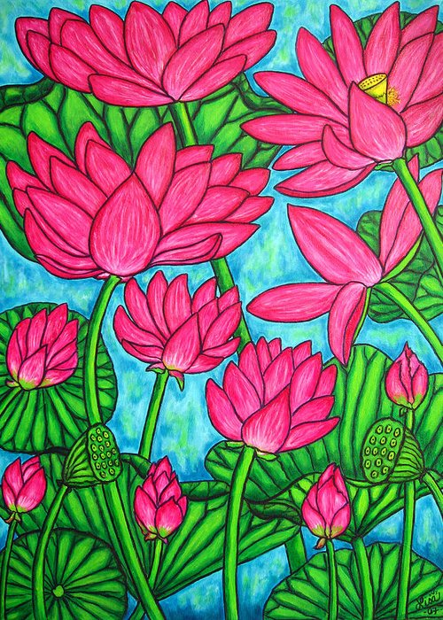 Greeting Card featuring the painting Lotus Bliss by Lisa Lorenz