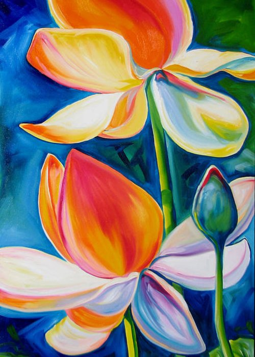 Lotus Greeting Card featuring the painting Lotus Blossoming by Marcia Baldwin