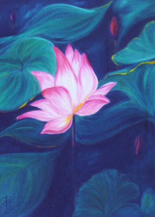 Floral Greeting Card featuring the painting Lotus by Dina Holland