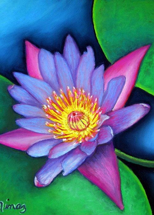 Flower Greeting Card featuring the painting Lotus Divine by Minaz Jantz
