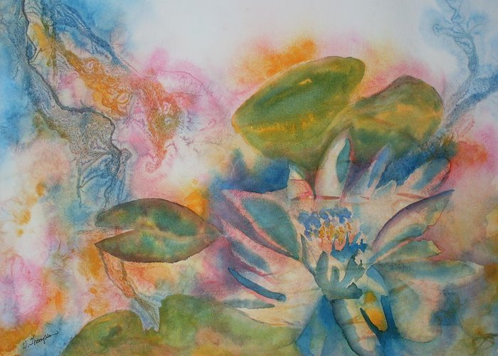 Lotus Flower Greeting Card featuring the painting Lotus Flower Abstract by Warren Thompson