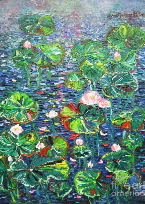 Water Lily Paintings Greeting Card featuring the painting Lotus Flower Water Lily Lily Pads Painting by Seon-Jeong Kim