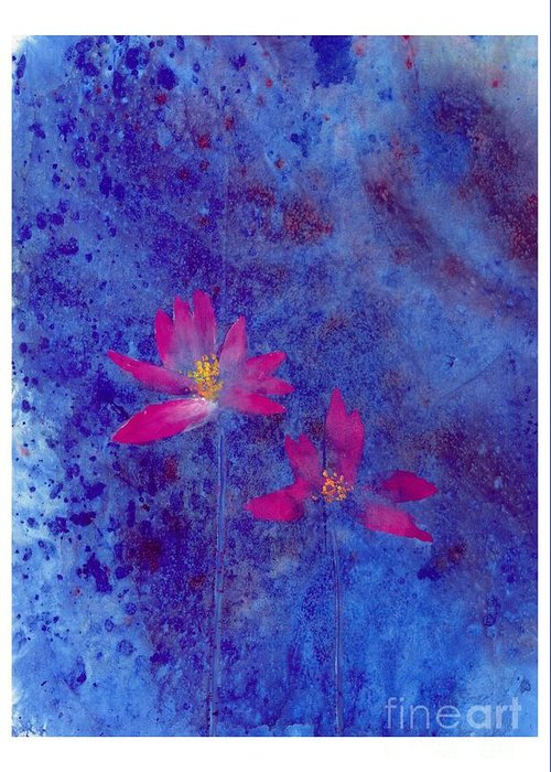 Free Style Lotus Flowers In Dreamy Blue Background. This Is A Contemporary Chinese Ink And Color On Rice Paper Painting With Simple Zen Style Brush Strokes.  Greeting Card featuring the painting Lotus II by Mui-Joo Wee