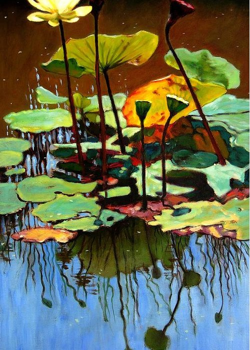 Pond In Park Paintings Greeting Cards