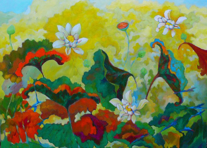 Lotus Greeting Card featuring the painting Lotus In The Fall by Tung Nguyen Hoang