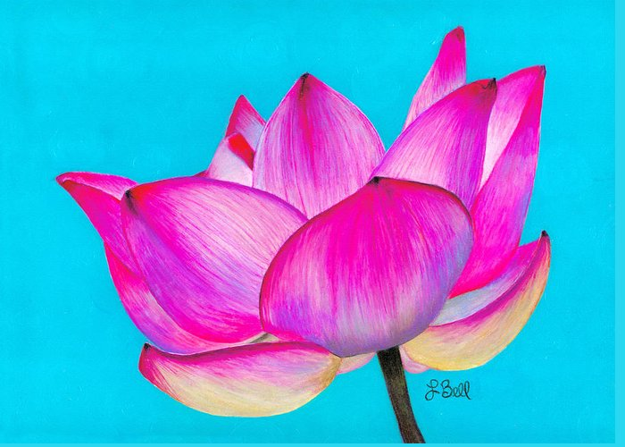 Lotus Greeting Card featuring the painting Lotus by Laura Bell