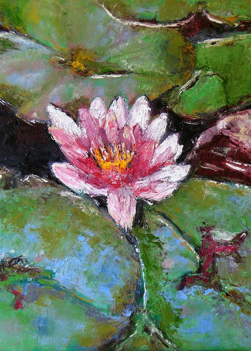 Knife Greeting Card featuring the painting Lotus Of The Pond by Lou Ewers
