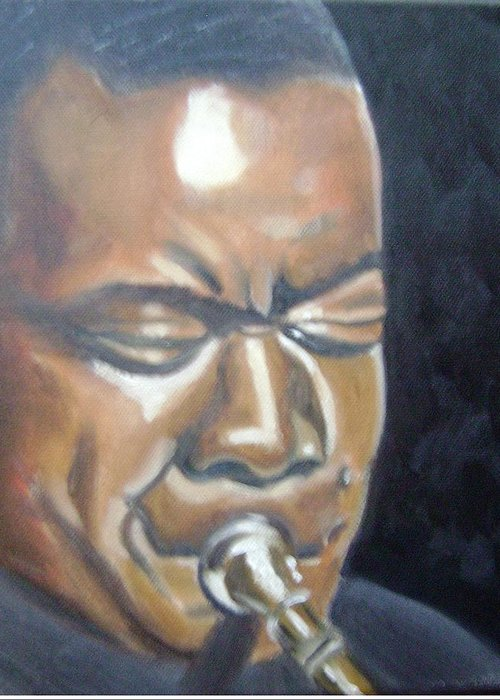 Louis Armstrong Greeting Card featuring the painting Louis Armstrong by Toni Berry