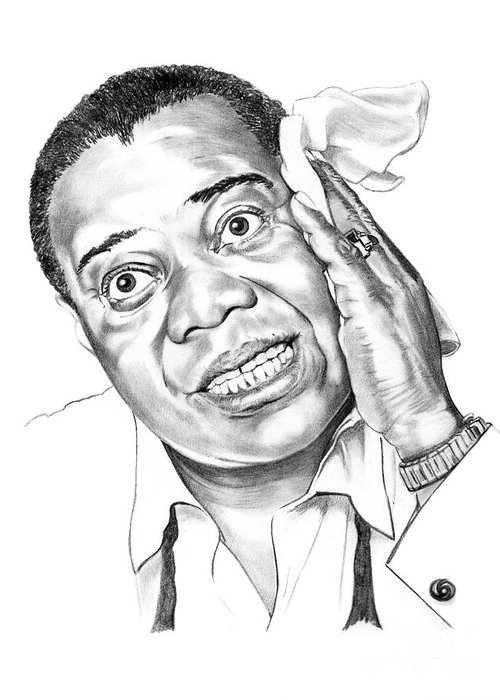 Music Greeting Card featuring the drawing Louis Satchmo Armstrong by Murphy Elliott