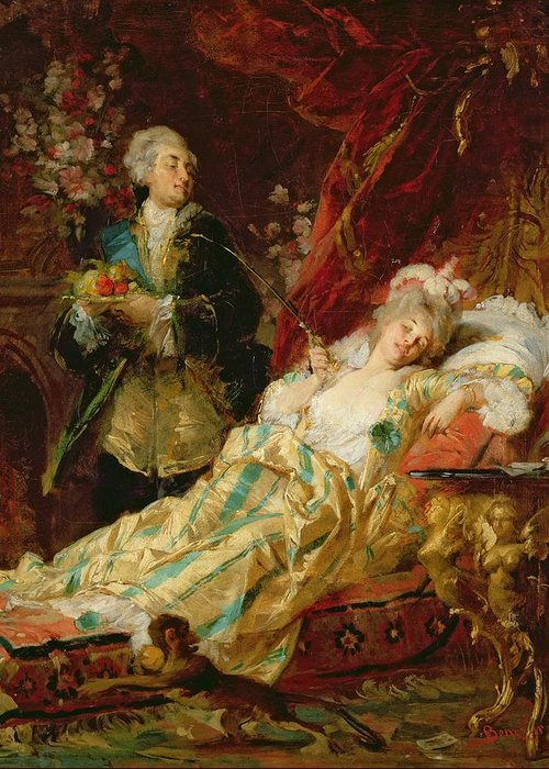 Louis Greeting Card featuring the painting Louis Xv And Madame Dubarry by Gyula Benczur