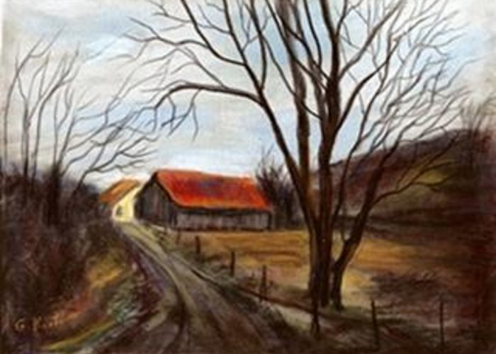 Barn Greeting Card featuring the painting Louisa Kentucky Barn by Gail Kirtz