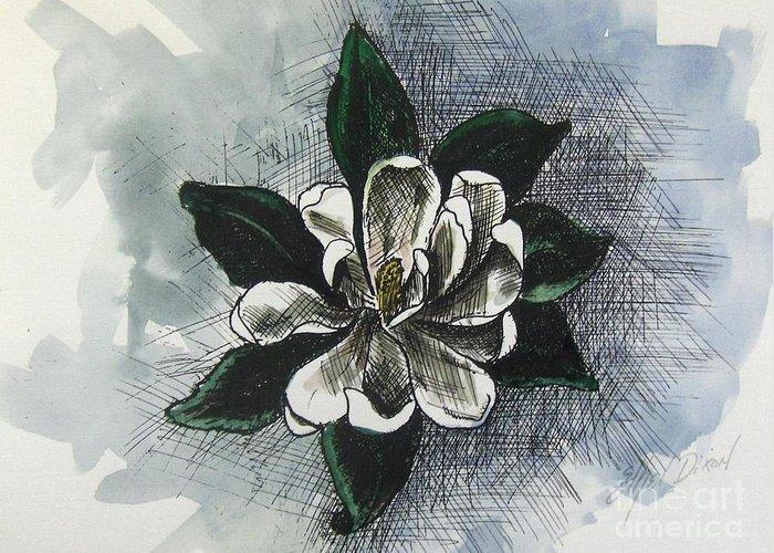 African American Art Greeting Card featuring the painting Louisiana Magnolia by Ethel Dixon