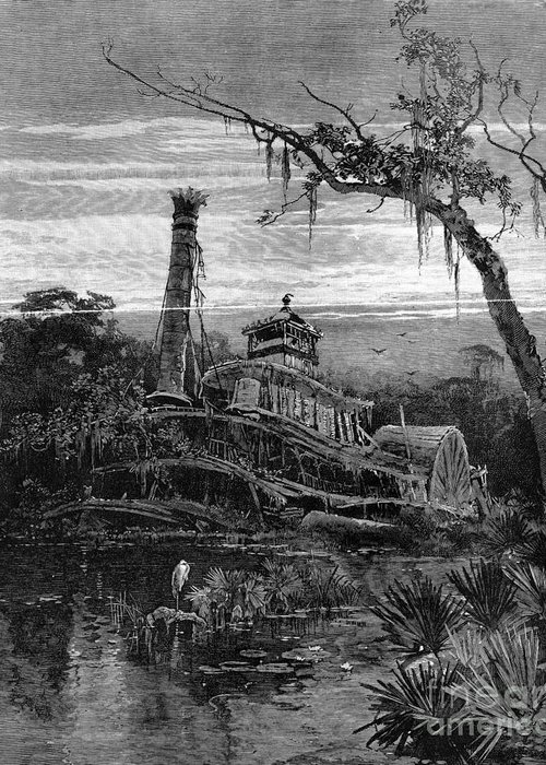 1888 Greeting Card featuring the photograph Louisiana: Steamboat Wreck by Granger