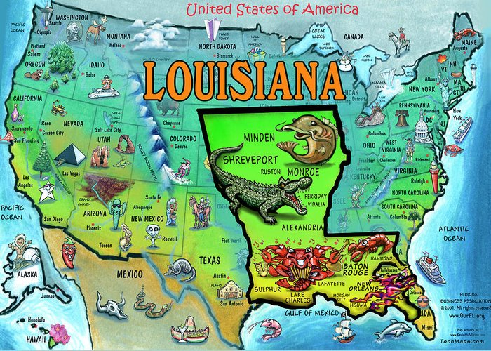 Louisiana Greeting Card featuring the painting Louisiana Usa Cartoon Map by Kevin Middleton