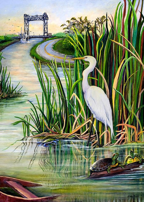 Louisiana Greeting Card featuring the painting Louisiana Wetlands by Elaine Hodges