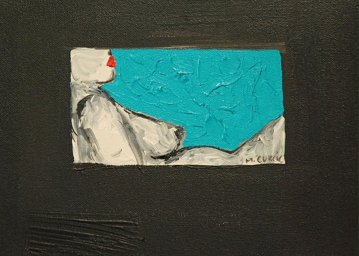 Abstract Nude Greeting Card featuring the painting Lounge Lizard by Maria Curcic