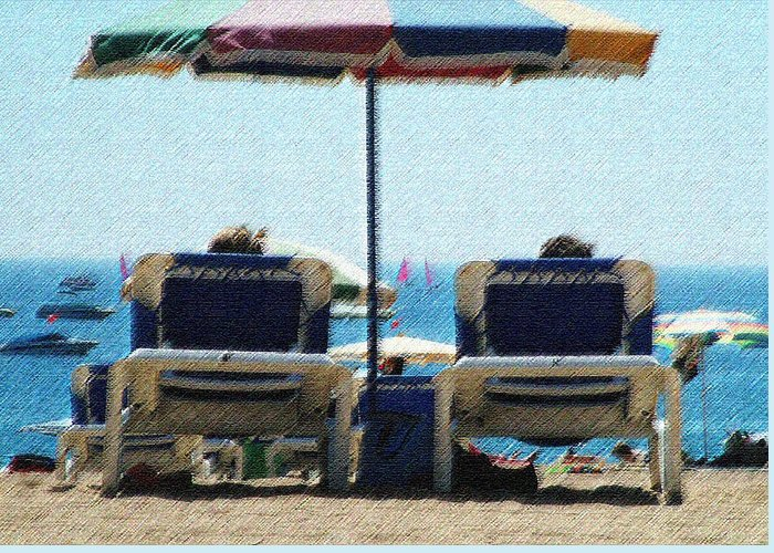 Sun Loungers Spain Greeting Card featuring the photograph Loungers by John Bradburn