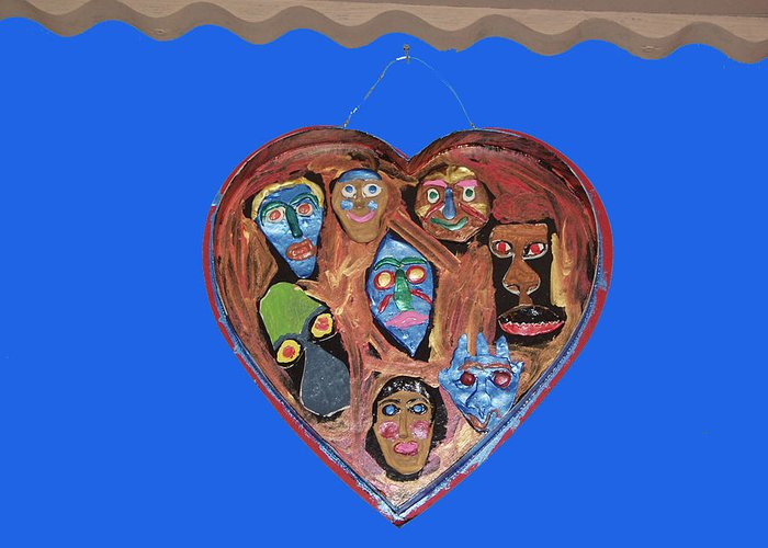 Lovable Faces Greeting Card featuring the mixed media Lovable Funny Faces by Betty Roberts